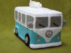 VW camper-van bus tissue box cover crochet pattern for sale.
