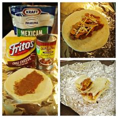 Burritos on the Campfire in tin foil!!- cheese is the only item needing ice