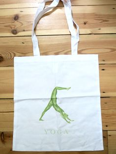 Yoga Tote bag - Downward Dog pose - Green - White by Sybilleart on Etsy