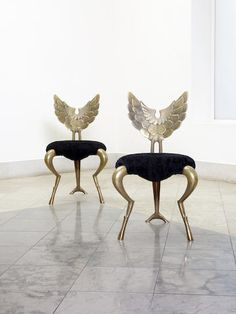 Mark Brazier Jones, a pair of 'Angel' chairs, dated 2003 polished bronze