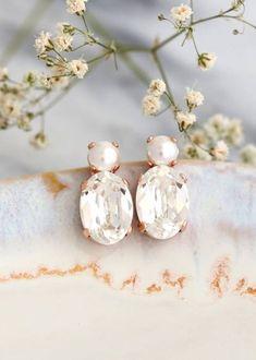 Buy Now Bridal Earrings Pearl Crystal Stud Earrings Bridal... Emerald Earrings, Pearl Stud Earrings, Pearl Studs, Rose Gold Earrings, Crystal Earrings, Bridesmaid Earrings, Bridal Earrings, Bridesmaids, Wedding Jewelry