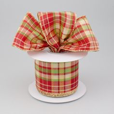 """2.5"""" Holiday Lame Plaid Ribbon: Red, Lime, Beige, Gold (10 Yards)"""