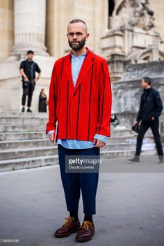 Fashion journalist, Angelo Flaccavento is seen before the Maison Margiela show at the Grand Palais during paris Fashion week Womenswear SS18 on September 27, 2017 in Paris, France.