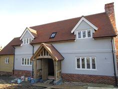 Border Oak - Pearmain Cottage with grey coloured render. Cabin House Plans, Cottage Floor Plans, House Windows, House Roof, Dormer Windows, Cottage Exterior, Exterior House Colors, Brown Roof Houses, Dream Home Design