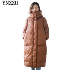 12020e98beda8 2018 Winter Jackets Women 90% White Duck Down Coats with Hooded Extra Long  Loose Thickning