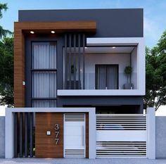 3 Storey House Design, House Gate Design, Duplex House Design, House Front Design, Wall Design, Modern Small House Design, Modern Exterior House Designs, Exterior Design, Modern Design