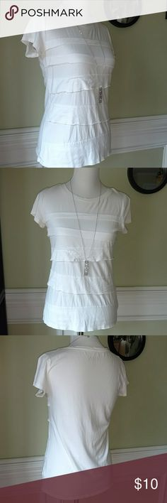 Cherokee shirt All white ruffled front Cherokee shirt. Loved condition but has more to give. Size M Cherokee Tops