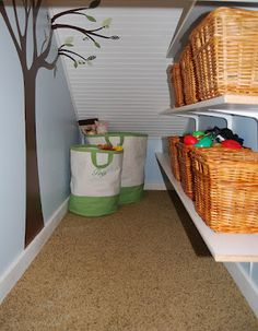 operation organization: Organizing Small Spaces : Utilize Every Nook & Cranny Storage Area, Storage Design, Toy Storage, Ikea Storage, Basket Storage, Playroom Closet, Entryway Closet, Playroom Ideas, Closet Space