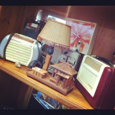 Retro radios & an awesome, unique lamp! #vintage #tiki #antique