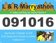 Custom made Race Bib Save the Date or Invitation. Perfect for a running themed wedding, bridal shower, bachelorette, or party. Wedding Invitation Cards, Wedding Cards, Our Wedding, Wedding Themes, Wedding Venues, Wedding Ideas, Race Bibs, Couple Shower, Open House
