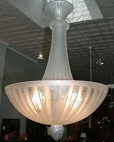 """Art Deco lighting. Excellent signed Daum Nancy acid etched chandelier in a beautiful clear frost. Great versatile size. Dimensions are 16"""" diameter with a 24"""" drop. Rewired for American circuit and ready to hang in your home. Signed """"Daum (Cross-of-Lorraine) Nancy"""". This design has been offered at Christie's and Sotheby's auctions in the past.    Priced at $8,500.00"""