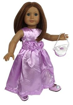 """Doll Clothes for American Girl Dolls: 3 Piece """"Fancy Night Out"""" Outfit -""""Dress Along Dolly"""" (Includes Purple Dress, Purse, and Gem Studded Shoes) Dress Along Dolly http://www.amazon.com/dp/B00HE5MNUO/ref=cm_sw_r_pi_dp_XIYjub0H26TKF"""