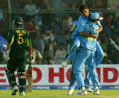 March 13, 2004: The opening ODI on India's first tour to Pakistan in 15 years. India put up 349. Inzamam-ul-Haq (122) and Yousuf Youhana (73) keep the hosts in the hunt for a great win. And then Moin Khan is out trying to hit the six needed to finish it off. Click the picture for the scorecard.