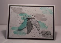 Stamps: Four Feathers, Wetlands, Work of Art, Gorgeous Grunge Paper: Whisper White, Basic Black, Smoky Slate, Pool Party Ink: Smokey Slate, Memento Black, Pool Party Accessories: Black Bakers Twine, Feathers Framelits