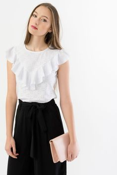 Suzy Shier Eyelet Lace Top