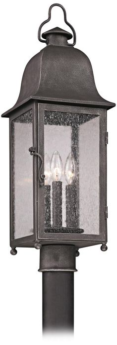 "Larchmont 25 1/4"" High Aged Pewter Outdoor Post Light -"