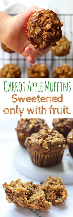 Carrot apple muffins sweetened ONLY with fruit. Great for blw (baby led weaning)… Carrot apple muffins sweetened ONLY with fruit. Great for blw (baby led weaning), as a healthy breakfast option or served as a healthy snack. NO refined sugar 🙂 Muffin Recipes, Baby Food Recipes, Snack Recipes, Toddler Recipes, Dessert Recipes, Healthy Baking, Healthy Desserts, Healthy Kid Snacks, Healthy Recipes