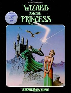 "Box art for the Atari version of ""Wizard and the Princess,"" one of Sierra On-Line's first graphical adventures, released for the Apple II, Commodore and other personal computers in 1980 Vintage Video Games, Retro Video Games, Vintage Games, Video Game Art, Retro Games, Games Box, Old Games, Princess Games, Pc Engine"