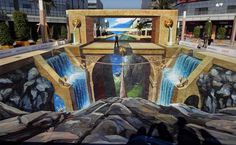 Amazing 3D Chalk Art- Rope bridge