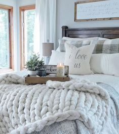 modern farmhouse master bedroom design, neutral bedroom design, rustic bedroom decor with upholstered bed and farmhouse wood sign and farmhouse bedding with chandelier and white walls Farmhouse Master Bedroom, Master Bedroom Design, Cozy Bedroom, Dream Bedroom, Home Decor Bedroom, Modern Bedroom, Bedroom Designs, Pretty Bedroom, Bedroom Furniture