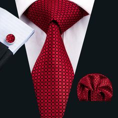 Wang Classic Men`s Tie Silk Red Plaid Necktie Hanky Cufflink Set For Men`s Wedding Party Business Tie And Pocket Square, Pocket Squares, Tie Set, Suit And Tie, Well Dressed Men, Classic Man, Red Plaid, Silk Ties, Men Dress