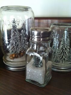 Easy kids christmas crafts homemade snow globes with trees... NO WATER!