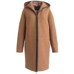 J.Crew Petite Stadium-Cloth Hooded Zip Coat (26.745 RUB) ❤ liked on Polyvore featuring outerwear, coats, jackets, petite, zip coat, leather coat, leather-sleeve coats, fur-lined coats and j crew coats
