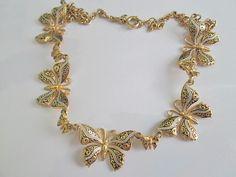 RESERVED Spanish Damascene Butterfly Necklace. by AuntValsVintage