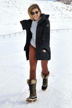Sophia Bush wearing Sorel Joan of Arctic II Boots in Nori
