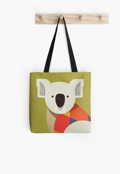 Koala // Tote Bag // Wildlife of Australia series which also includes Kangaroo, Emu, Wombat and Platypus // Nursery Animals, Colorful Animals, Nursery Art Prints, Australian Art Print, Australian Animal, Animal Fashion, Australian Wildlife, Animals Nursery, Wombat Illustration, Retro Animal, Mid-century Animal, Animal Illustration, Australian Art, Quirky Tote Bag, Australian Kids Poster, Kids Art Print, Apparel, Geometric Animal, Fashion wear, Animal Bag