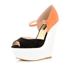 coral colour block peep toe wedges - shoes / accessories / bags - holiday shop - women - River Island