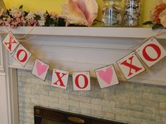valentine garland. would be cute to do on burlap