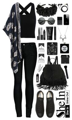 """""""SheIn"""" by scarlett-morwenna ❤ liked on Polyvore featuring moda, 2LUV, Converse, Sennheiser, Stila, NARS Cosmetics, Topshop, ASOS, MAKE UP FOR EVER e Givenchy"""