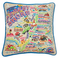 Embroidered Jersey Shore Pillows