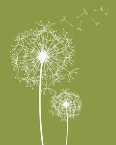 Modern Dandelions print Custom Modern Flower wall by fancyprints