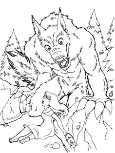 free werewolf coloring page get more pages to color at mybuffaloboxcom - Halloween Werewolf Coloring Pages