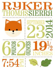 Personalize this print with your childs birth stats in your choice of colors. A perfect gift for a new baby, first birthday, baptism,