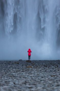 My wife standing in front of Skogafoss, Iceland - Imgur