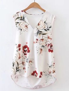 Very pretty spring blouse! Any streatch to it? Shop V-Neckline Sleeveless High Low Top online. SheIn offers V-Neckline Sleeveless High Low Top & more to fit your fashionable Summer Casual Brand Tops For Women White Blouses Sexy V neck Slee Casual Outfits, Fashion Outfits, Womens Fashion, Mode Kimono, Pinterest Fashion, Sewing Clothes, Blouse Designs, Ideias Fashion, Style Me