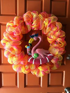 Summer Deco Mesh Flamingo Wreath - made July 2013