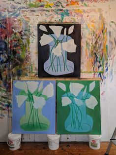 """Flowers, Black, Blue and Green oil/canvas, 32x28"""""""