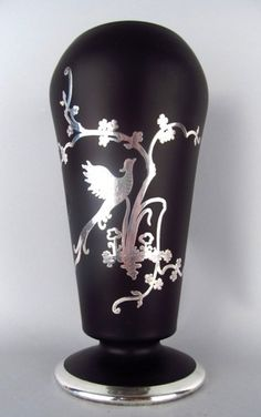 """Stunning - TIFFIN ~ BLACK SATIN GLASS 8"""" DAHLIA VASE with SILVER OVERLAY ~ MINT CONDITION"""