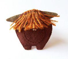 Toffee - Highland Cow - felt brooch