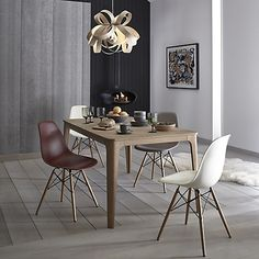 Buy Cream Vitra Eames DSW Side Chair, Light Maple Leg from our Dining Chairs range at John Lewis & Partners. Plastic Dining Chairs, Wooden Dining Chairs, Table And Chairs, Side Chairs, Dining Tables, Kitchen Tables, Vitra Chair, Lounge Chair, Patio Chair Cushions