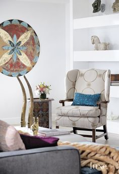 Eclectic White Living Room Chair