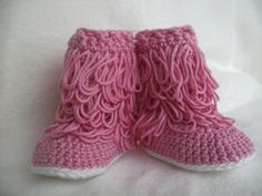 Loopy crochet baby booties new born by littletotstoes2 on Etsy, $11.00