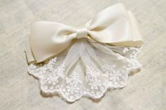Classic Hair Bow Clip- Ivory Ribbon and Lace. $7.75, via Etsy.