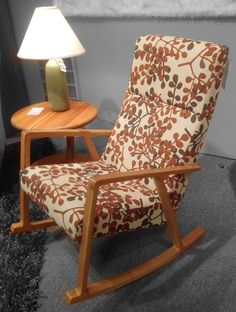 Highback Rocker, upholstered in a fun pattern with a natural cherry frame. Available at Scanhome Furnishings in Green Bay.