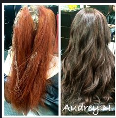Dramatic color change Before & after haircolor