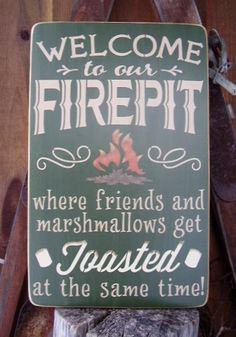Welcome to our Firepit Wooden Sign by RusticNorthern on Etsy, $40.00